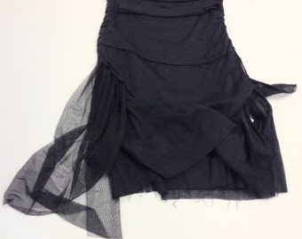 Tattered Chic Raw Edged Cotton Gauze Gothic Goth Skirt M