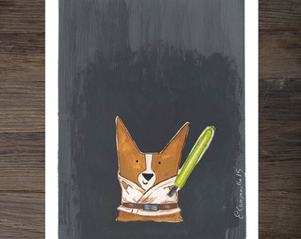 "Corgi ""Luke Corgwalker"" Art Print"