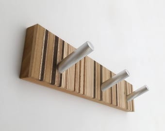 Modern Wood Robe Hook, Towel Hook, Wood and Metal, Bath and Bedroom Wall Decor, Modern Hardware
