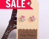 SALE- Sweet Button Earrings- Pink Tulip Bouquet