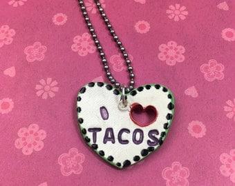 I HEART TACOS Stamped Ceramic Necklace