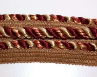 Lip Cord, Burgundy and Gold Braided Lip Cord Trim 3/8 inch wide x 3 yards, Conso Brand