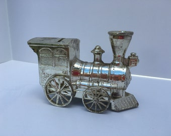 Vintage Silver Plated Train, Coin Bank