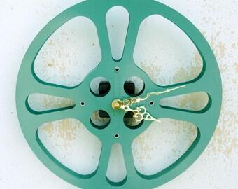 Clock, Movie Reel Clock, Wall Clock, 16mm Metal Movie Reel Clock, Recycled, Upcycled Gift Item #12