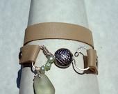 Sand Leather Wrap -Sea Glass Bracelet -Seafoam Seaglass Fish Charm -Beach Glass Jewelry