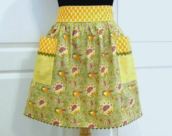 Womens Retro Half Apron, Handmade Modern Chic Cute Kitchen Waist Aprons