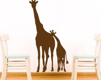 Giraffe Wall Decal Sticker Jungle Safari Sticker Room Decor Wall Sticker Mom and Baby Giraffe Vinyl Decal- CA101