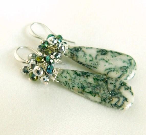 Green Lace Agate Green Earrings Sterling Silver Earrings