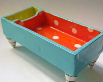 colorful Desk pottery dish :) bright orange, turquoise, chartreuse w/ polka dots, striped legs -- for paperclips, candy, post-its