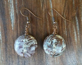 Jasper Crystals and Copper Earrings