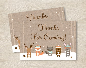 Winter Woodland Animal Party Favor Tags / Thank You Tags / Winter Woodland Baby Shower / Gender Neutral / INSTANT DOWNLOAD A111