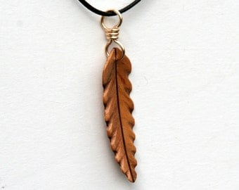 Handcarved  Maple and Black Walnut Wood  Leaf  Pendant J160360