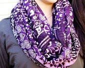 Purple Infinity Scarf Graphic Pattern Circle Loop Scarf Pink Purple Mauve Multi-color Fashion Scarf