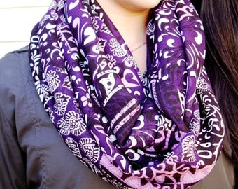 Purple Infinity Scarf Graphic Mixed Print Fabric Pink Purple Mauve Multi-color Fashion Scarf Patterned Circle Loop Scarf Womens Scarves