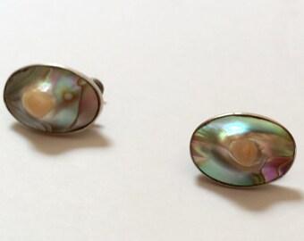 Vintage Pearl Earrings - Sterling Silver Blister Pearl Screwback Vintage Earrings
