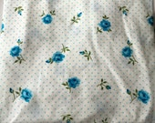 Twin VINTAGE BLUE Rose and Polka Dot FLAT Fitted Sheet