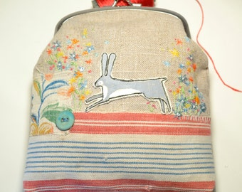 Purse : large coin purse - hand embroidered garden - one of a kind embroidered artwork - Hare