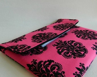 ON SALE Damask Tablet Sleeve- Black- Hot Pink- iPad- Tablet Case- Cotton- Electronics- Accessories- Clutch- Velcro- e-reader- e-clutch