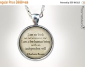 ON SALE Charlotte Bronte Freedom : Glass Dome Necklace gift present by HomeStudio. Round art photo pendant jewelry. Available as Key Ring Ke