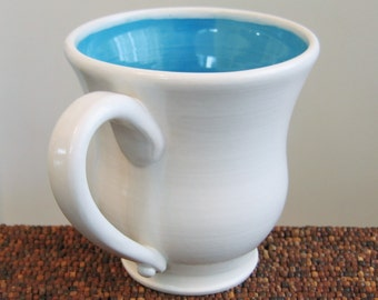 Large Coffee Mug in Sky Blue 18 oz. Stoneware Ceramic Pottery Mug