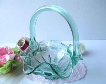 Vintage Fenton Green Glass Basket