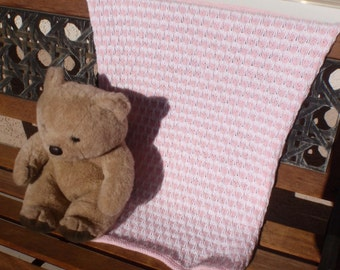 Baby girl knitted blanket, pink and white baby blanket, hand knitted baby blanket for a baby girl, baby shower gift, soft pink baby blanket