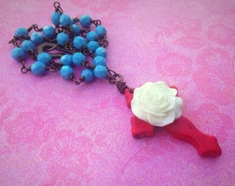 Red Cross with White Rose Flower on a Blue Rosary Style Necklace Mothers Day Handmade Jewelry