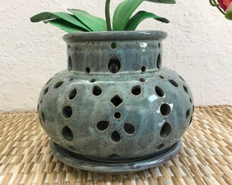 Reserved for Regina Ceramic Orchid Pot - Orchid Planter - Wheel Thrown Pottery - Home Decor