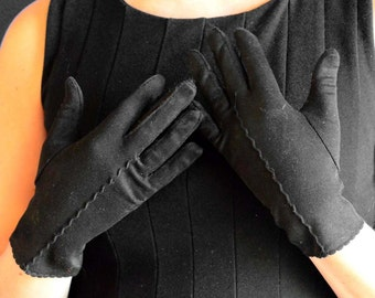 Vintage Gloves in Black with Decorative Detailing - Day Gloves or Wrist Length Gloves - 100% NYLON - Made in USA