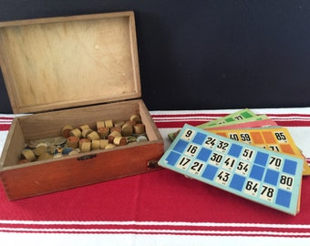 French Vintage Antique Loto Lottery Box Game Tokens Children