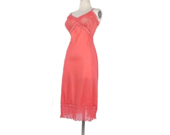 Vintage 50s Slip - 50s Full Slip - Vanity Fair Slip - Pink Slip - Vanity Fair Nylon Slip - Semi-Sheer Slip - Dawn Pink - Nylon Chiffon Lace