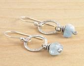 Aquamarine Earrings, March Birthstone, Blue Dangle Earrings, Rustic Gemstone, Sterling Silver, #4616