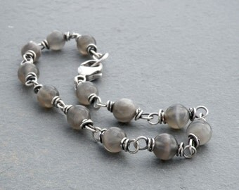 Gray Moonstone Bracelet, Gray Moonstone Sterling Silver Bracelet, Wire Wrap Gemstone Bracelet, June Birthstone, Stacking Bracelet, #4686
