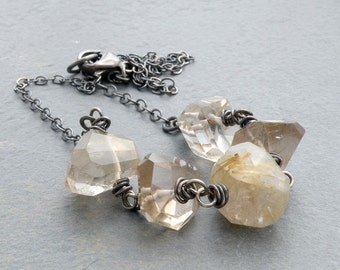Faceted Rustic Rutilated Quartz Necklace with Sterling Silver Wire Wraps, #4132