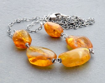 Baltic Amber Necklace, Golden Yellow Amber Nugget Necklace, Long Layering Necklace, Sterling Silver Wire Wrap, #4708