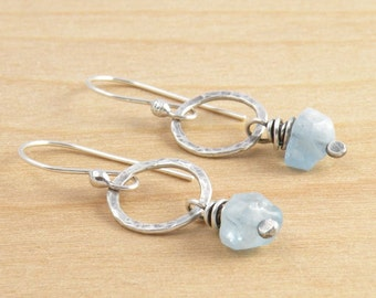 Aquamarine Earrings, March Birthstone, Blue Dangle Earrings, Rustic Gemstone, Sterling Silver, #4616