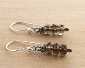 Smoky Quartz Earrings, Sterling Silver, Brown Gemstone, Wire Wrapped, Faceted, Dangle Earrings, Everyday Earrings, #4329