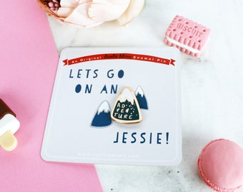 adventure enamel pin mountain pin which can be personalised