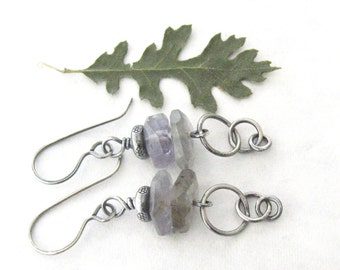 lavender iolite dangle earrings, rustic dangle earrings, metalwork earrings, gemstone earrings lavender dangle earrings