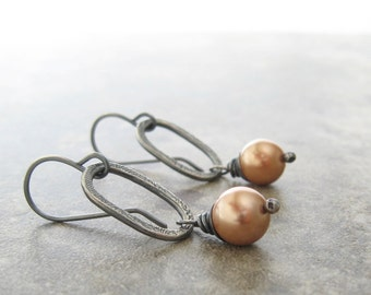 peach pearl and sterling silver dangle earrings, oxidized metalwork dangle earrings
