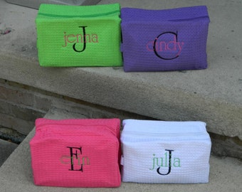 Monogrammed Cosmetic Cases, Monogram Makeup Bag, Personalized, Bridesmaid, Teachers, Grad Gifts, Personalized Case, Names, Initials