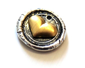 Heart Charm Two tone Brass and Sterling Wax Seal Style