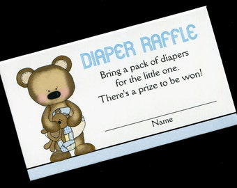 Diaper Raffle Tickets - Diaper Raffle Inserts - Baby Shower Game - Baby Boy - Bear with Quilt and Teddy Bear - Blue - Set of 25
