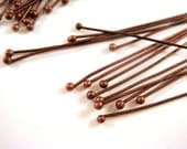 50 Antique Copper Ball Headpins Brass 2 inch (50mm), 23-24 Gauge Ball Pin 1mm Ball - 50 pc - F4008BHP-R50