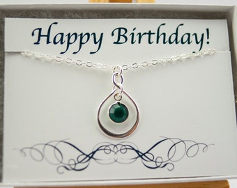 May Birthday Necklace Infinity Necklace May Birthday Gift for Her, May Birthstone Necklace Emerald Necklace, Birthday Jewelry with Card
