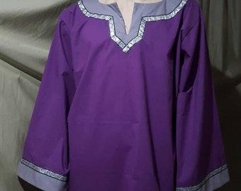 Medieval Renaissance Purple T-Tunic Men's Shirt with trim #30