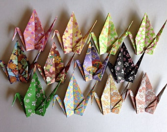 "12 Large Chiyogami Cranes - Floral Pattern (12 designs), 6"" (15 cm) Japanese Chiyogami Paper, Chiyogami Cranes, Handmade, Crane Bird, Kawaii"