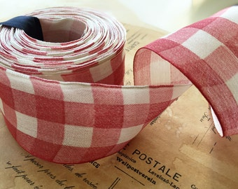 "Red Check Cotton Wired Ribbon  (9 yds ~ 1 5/8"")"