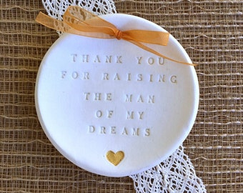 Mother of the Groom Gift -Thank you for Raising the Man of My Dreams w/ Metallic Gold Heart, Wedding Keepsake, Gift for Mother Ready to Ship