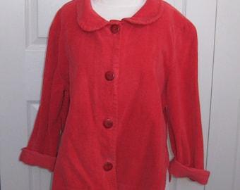 red corduroy blouse . peter pan corduroy jacket . peter pan corduroy blouse . corduroy . peter pan collar